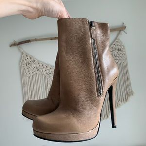 Camel colored genuine leather ankle boots